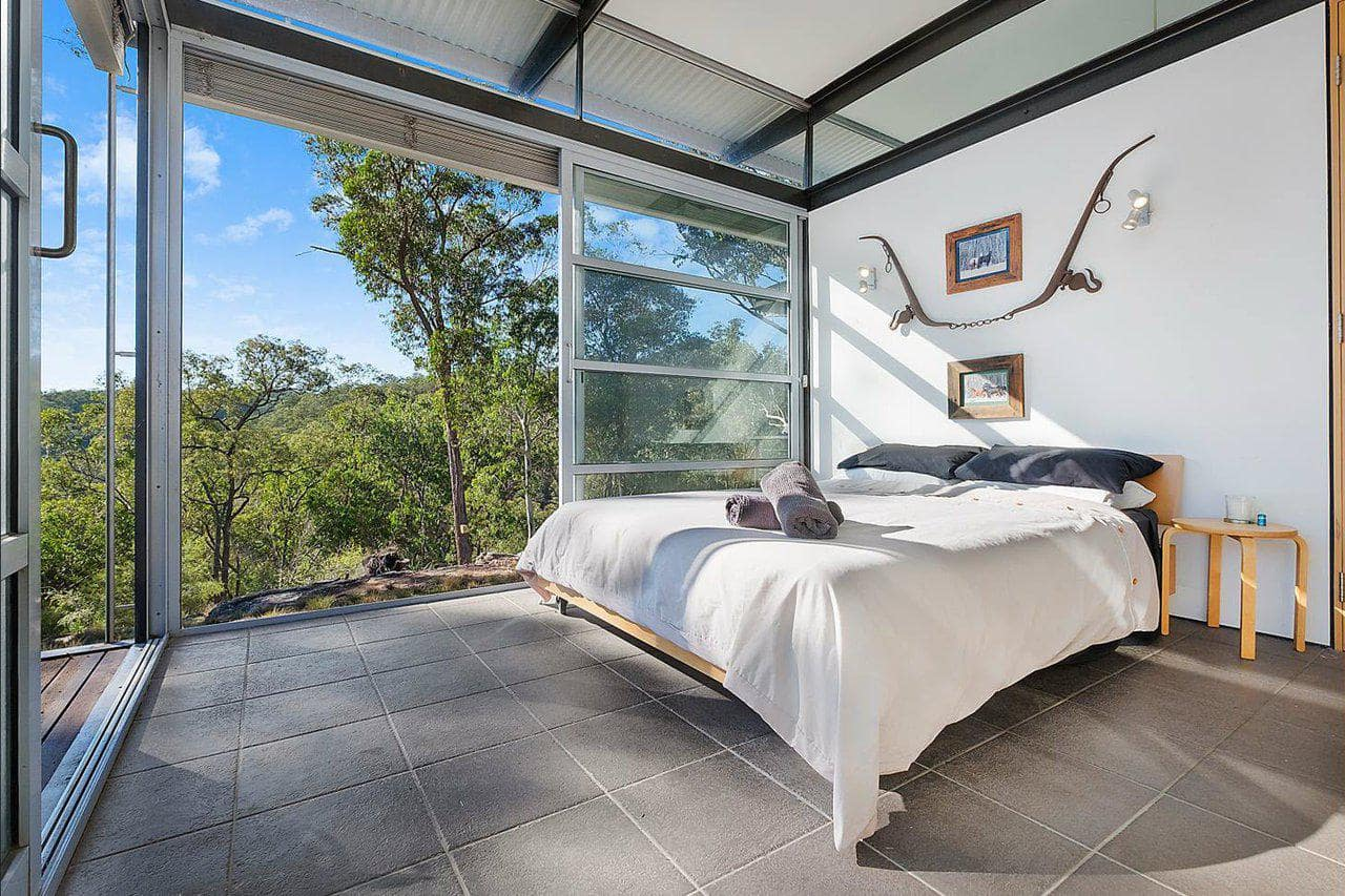 View from one of the bedrooms in a private villa in hunter valley